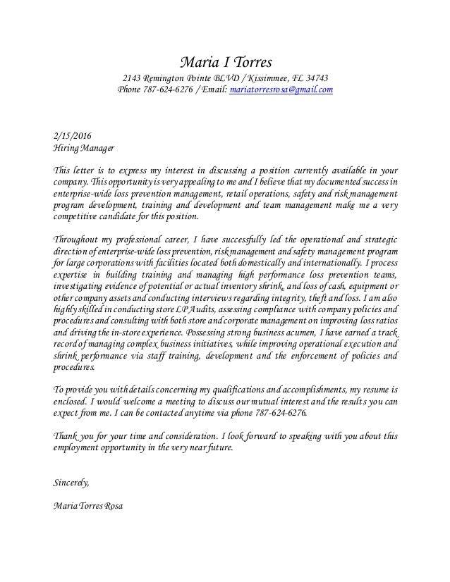 Maria I Torres Cover Letter