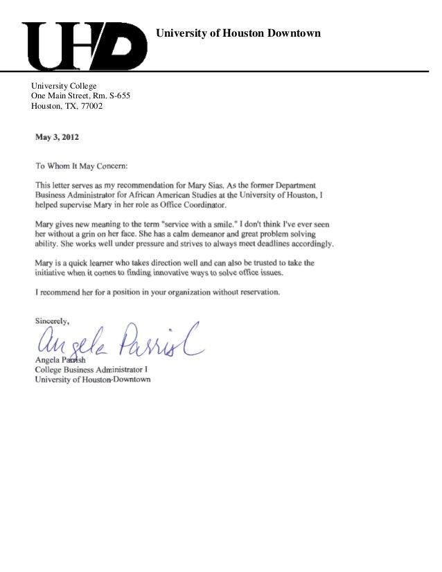 recommendation letter angela parrish case
