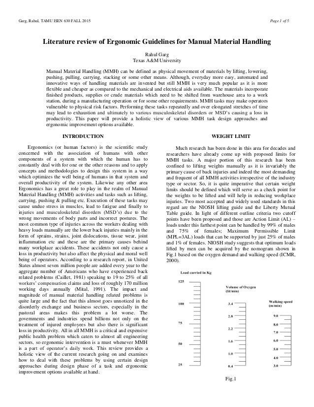 ergonomics literature review
