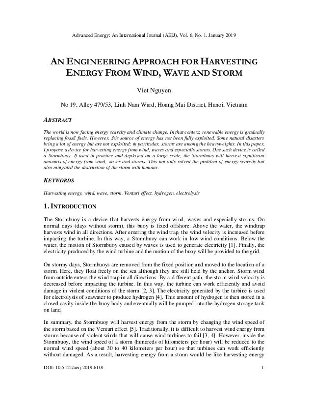 Advanced Energy: An International Journal (AEIJ), Vol. 6, No. 1, January 2019 DOI: 10.5121/aeij.2019.6101 1 AN ENGINEERING...