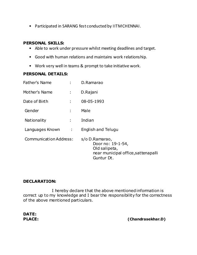Chandrasekhar Btech Fresher Resume