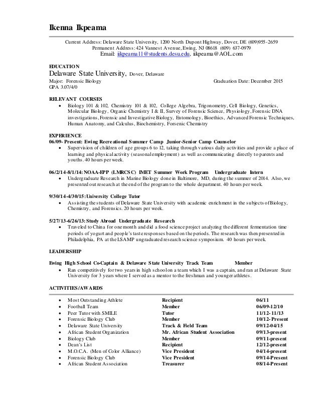 resume for research internship