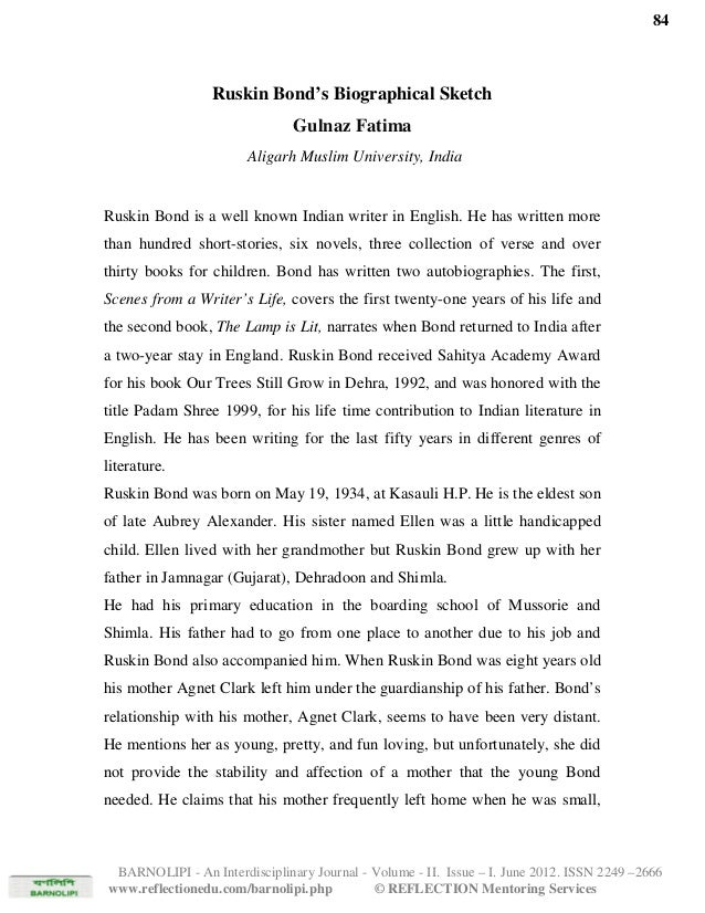 Ruskin Bond S Biographical Sketch By Gulnaz Fatima Aligarh