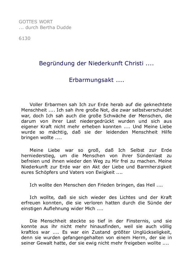 GOTTES WORT  ... durch Bertha Dudde  6130  Begründung der Niederkunft Christi ....  Erbarmungsakt ....  Voller Erbarmen sa...