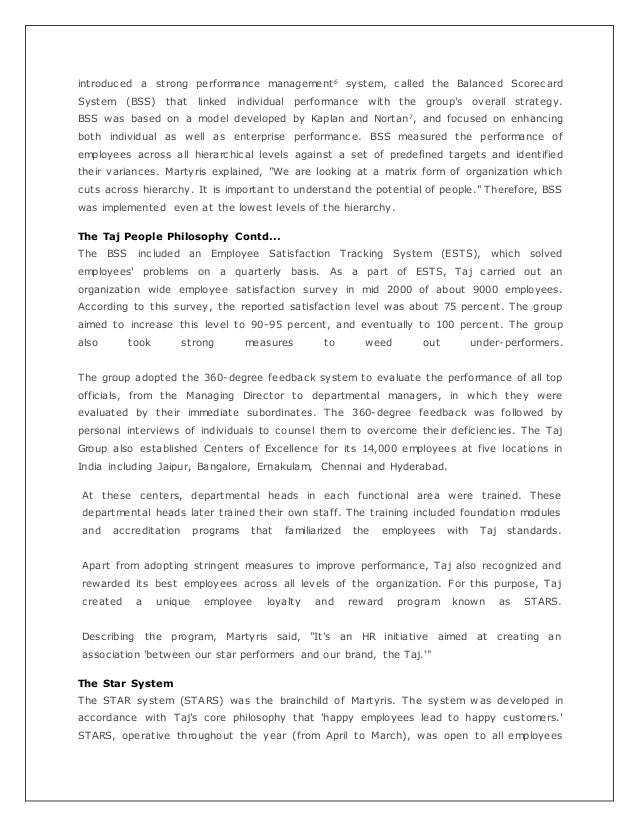 taj hotels case study Performance of employee: a case study of vivanta by taj  outlines key  elements of the business case that can  fame in terms of money which hotel is  not.