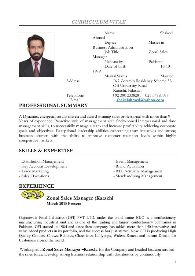 sales manager cv