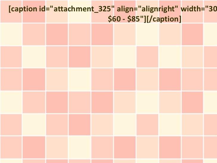 "[caption id=""attachment_325"" align=""alignright"" width=""30                          $60 - $85""][/caption]"