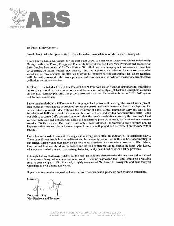 abs treasurer letter of recommendation  june 2010