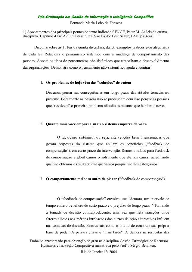 Pós-Graduação em Gestão da Informação e Inteligência Competitiva Fernanda Maria Lobo da Fonseca 1) Apontamentos dos princi...