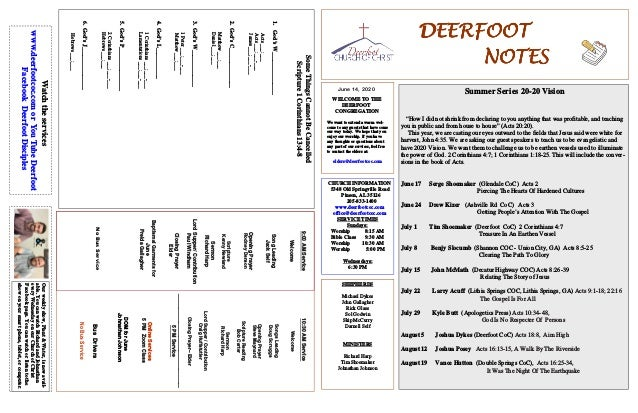 DEERFOOTDEERFOOTDEERFOOTDEERFOOT NOTESNOTESNOTESNOTES June 14, 2020 WELCOME TO THE DEERFOOT CONGREGATION We want to extend...