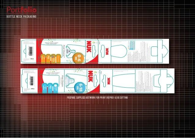 prepare supplied artwork for print (REPRO) & diecutting Portfolio bottle neck packaging