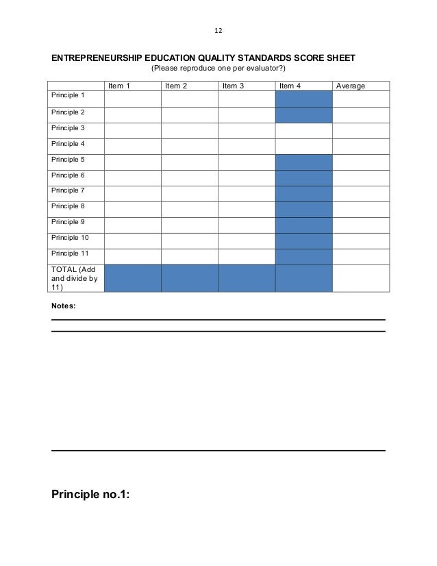 12 ENTREPRENEURSHIP EDUCATION QUALITY STANDARDS SCORE SHEET (Please reproduce one per evaluator?) Item 1 Item 2 Item 3 Ite...