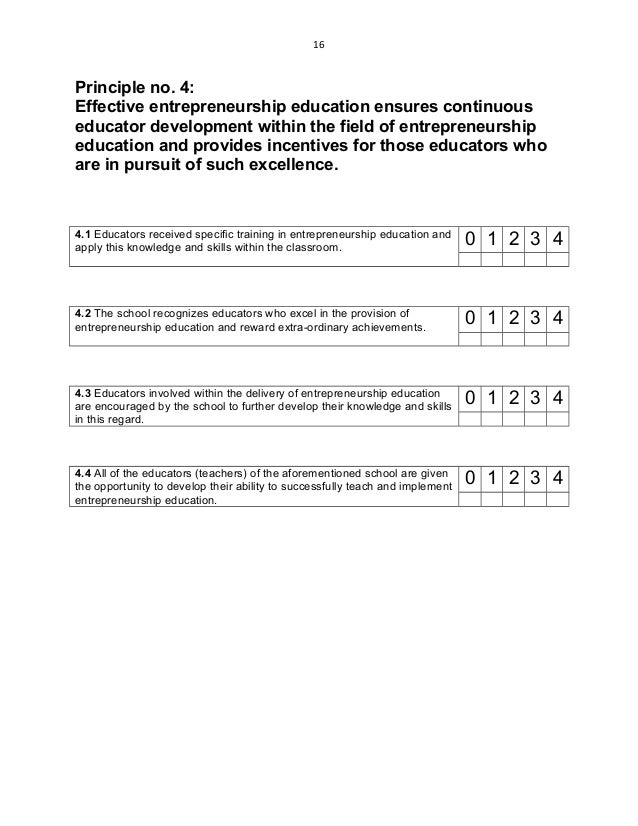 16 Principle no. 4: Effective entrepreneurship education ensures continuous educator development within the field of entre...