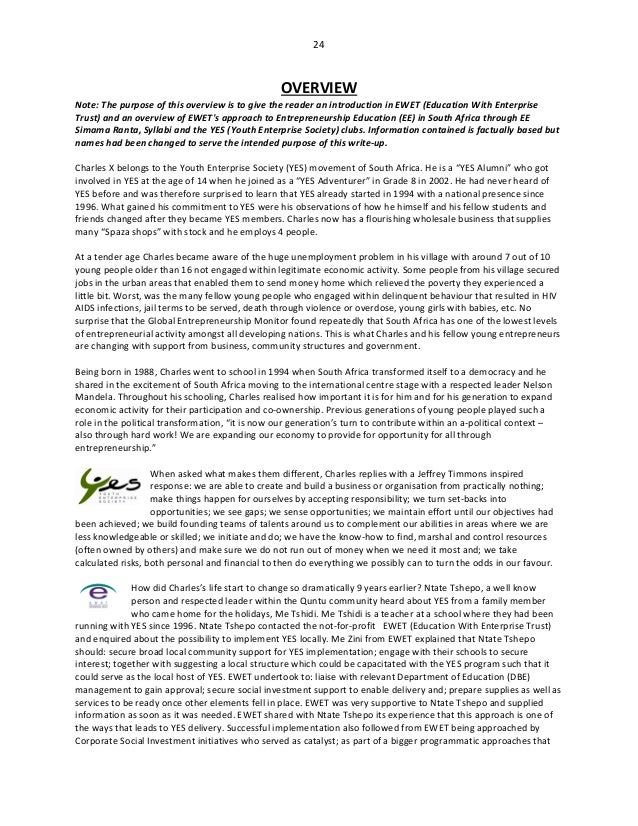 24 OVERVIEW Note: The purpose of this overview is to give the reader an introduction in EWET (Education With Enterprise Tr...