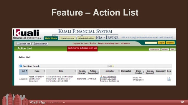 12 Feature – Action List
