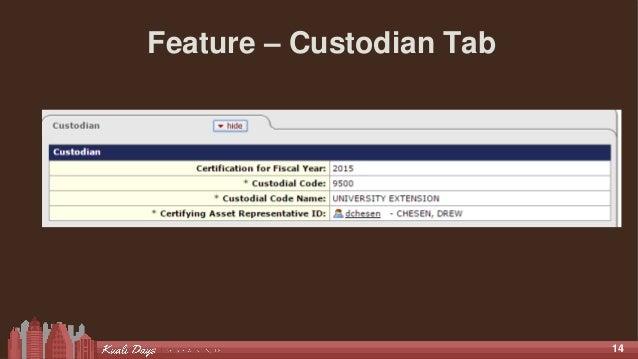 14 Feature – Custodian Tab