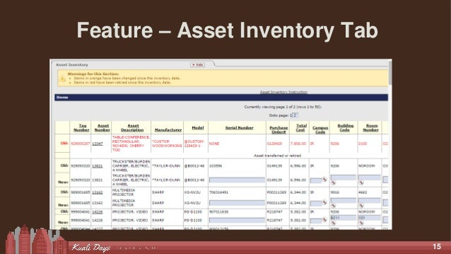 15 Feature – Asset Inventory Tab