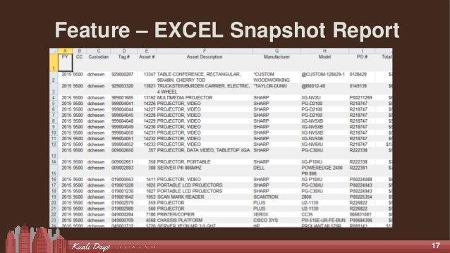 17 Feature – EXCEL Snapshot Report