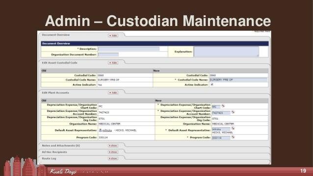 19 Admin – Custodian Maintenance