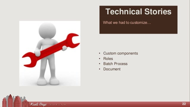22 Technical Stories What we had to customize… • Custom components • Roles • Batch Process • Document
