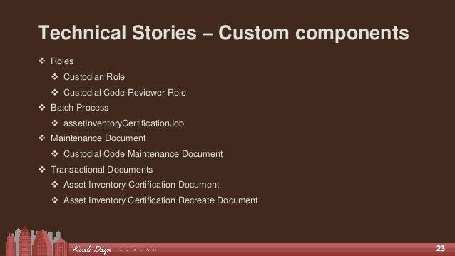 2323 Technical Stories – Custom components  Roles  Custodian Role  Custodial Code Reviewer Role  Batch Process  asset...