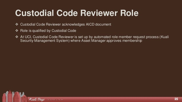2525 Custodial Code Reviewer Role  Custodial Code Reviewer acknowledges AICD document  Role is qualified by Custodial Co...