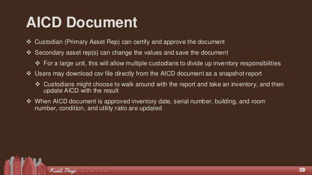 2929 AICD Document  Custodian (Primary Asset Rep) can certify and approve the document  Secondary asset rep(s) can chang...