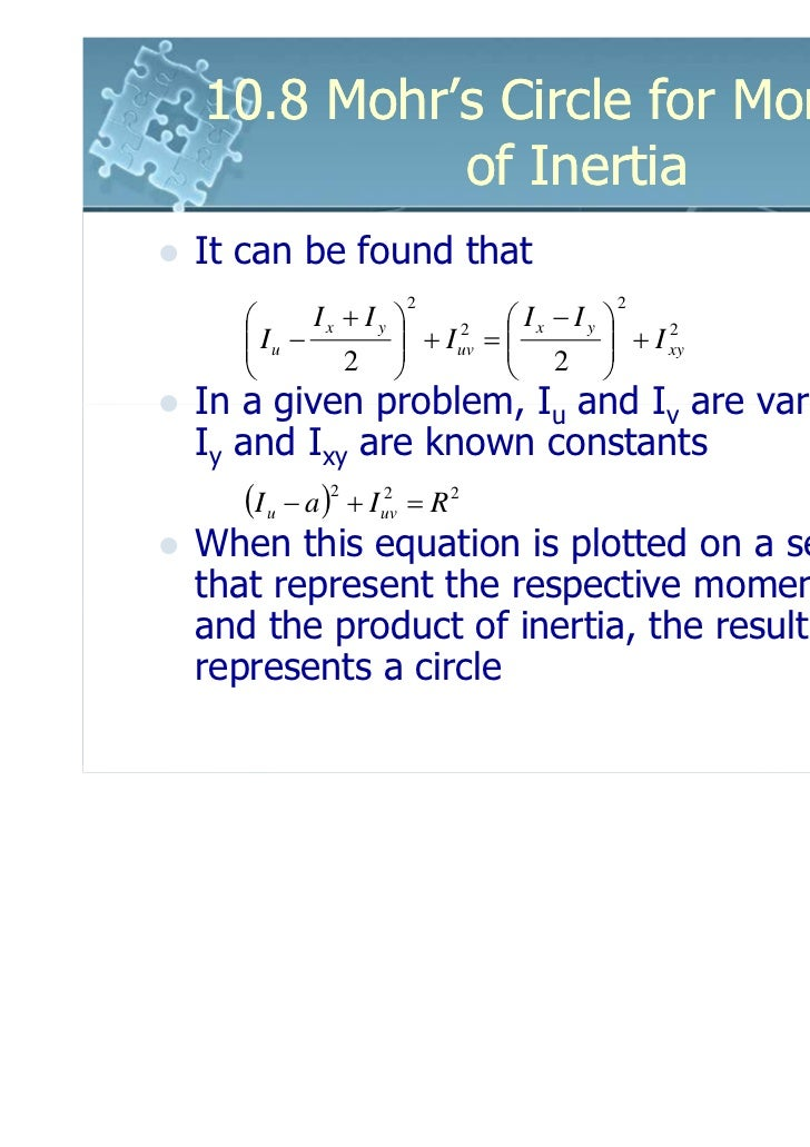 10.8 Mohr's Circle for Moments          of InertiaIt can be found that                   2                     2         ...