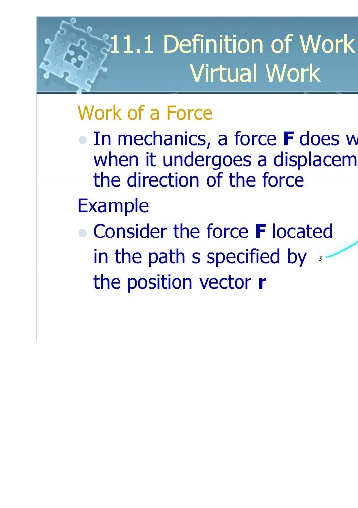 6161103 11.1 Definition Of Work And Virtual Work