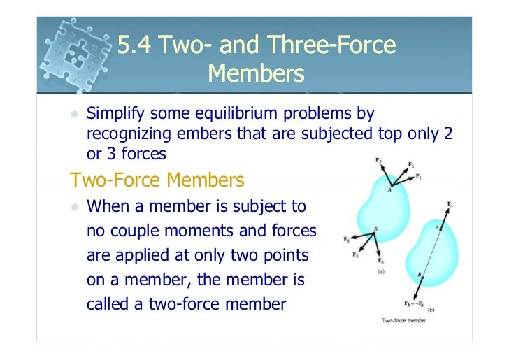 5.4 Two- and Three-Force           Members Simplify some equilibrium problems by recognizing embers that are subjected top...
