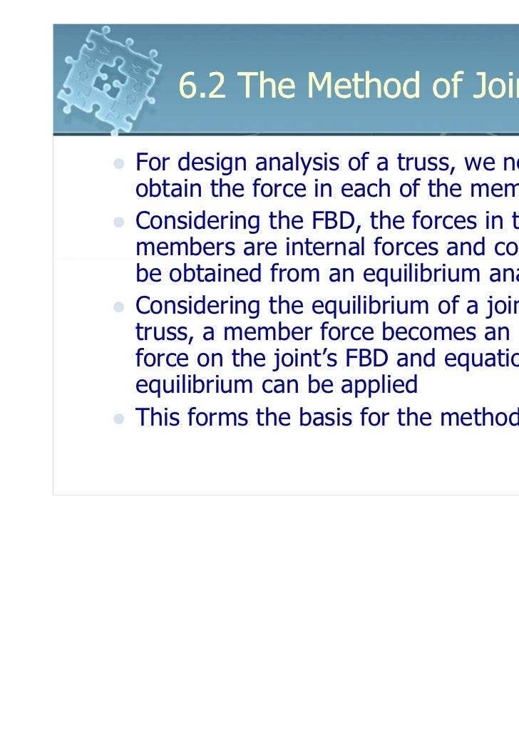 6.2 The Method of JointsFor design analysis of a truss, we need toobtain the force in each of the membersConsidering the F...