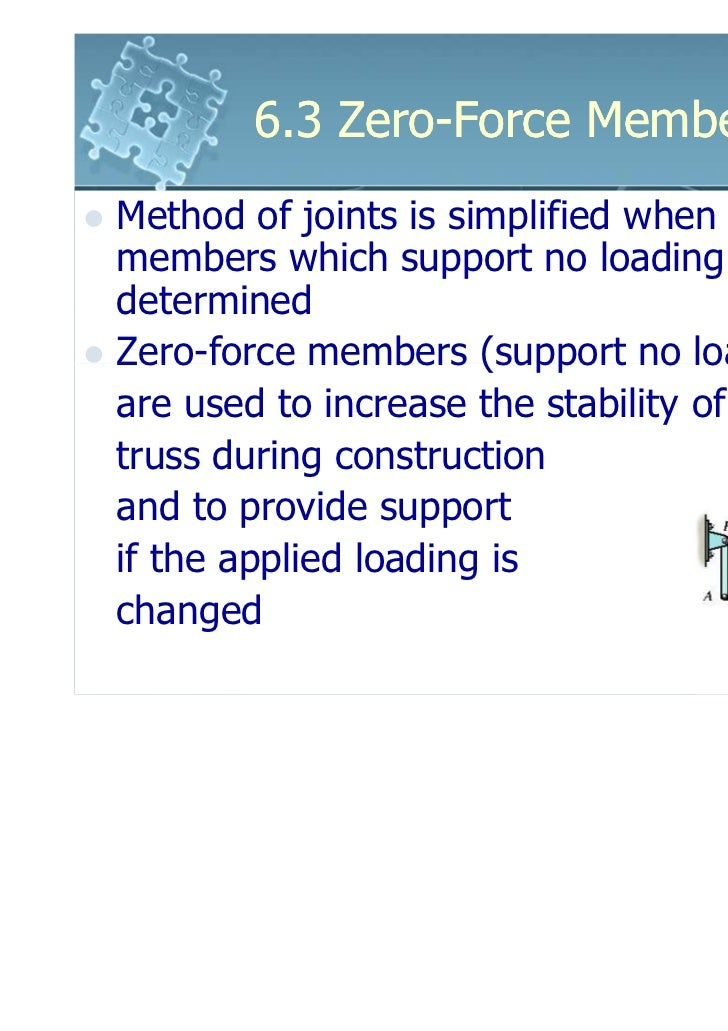 6.3 Zero-Force MembersMethod of joints is simplified when themembers which support no loading aredeterminedZero-force memb...