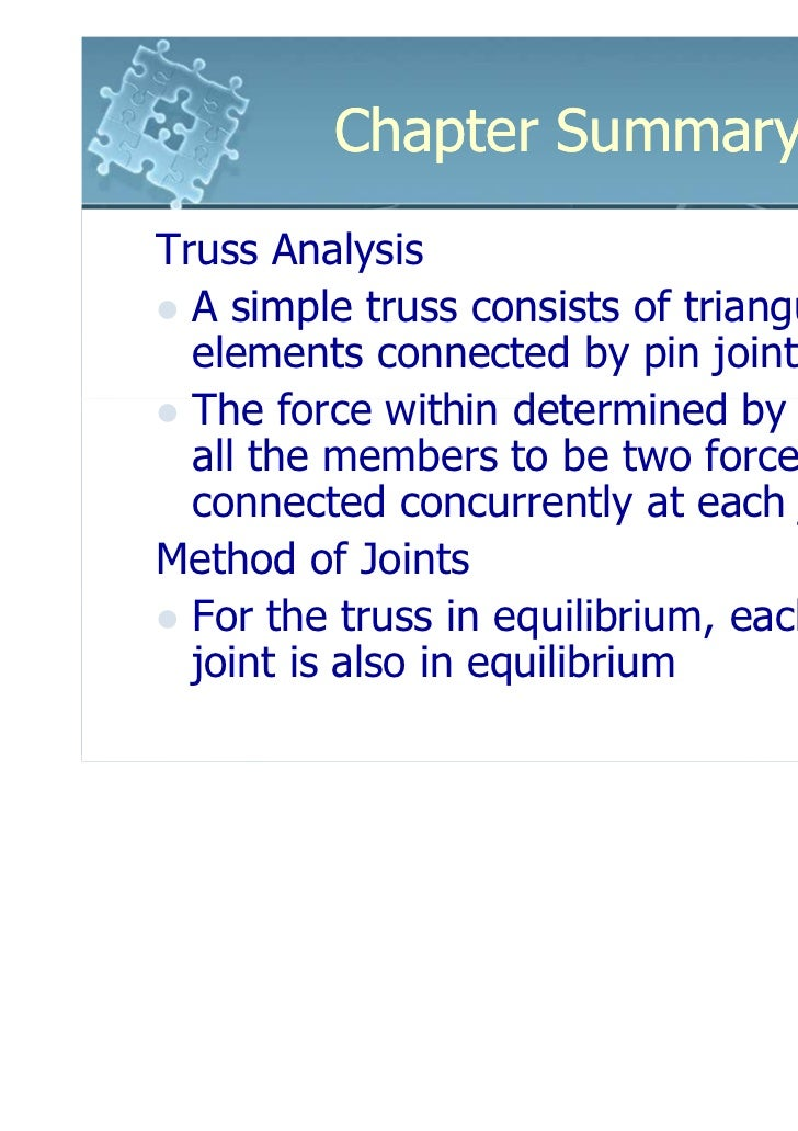 Chapter SummaryTruss Analysis  A simple truss consists of triangular  elements connected by pin joints  The force within d...