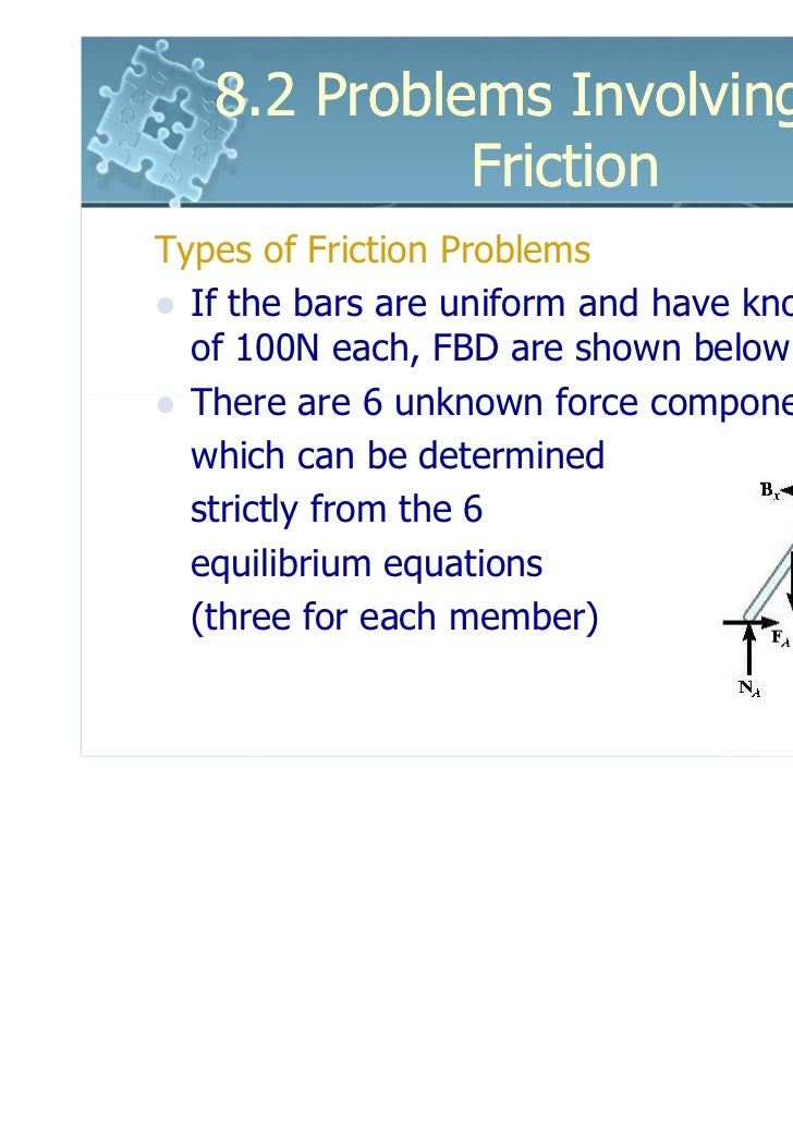 8.2 Problems Involving Dry             FrictionTypes of Friction Problems  If the bars are uniform and have known weights ...
