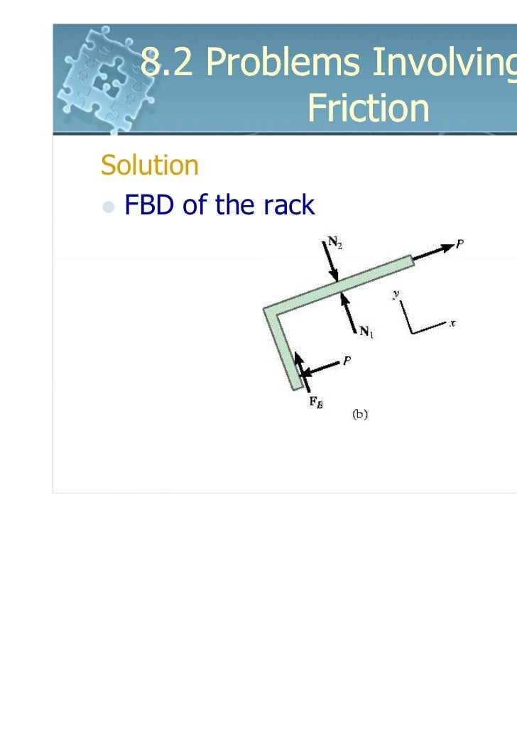 8.2 Problems Involving Dry             FrictionSolution  FBD of the rack