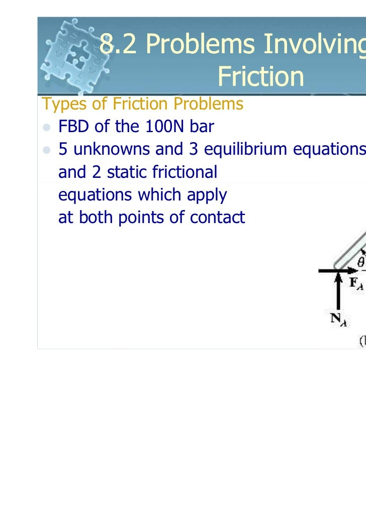 8.2 Problems Involving Dry                 FrictionTypes of Friction Problems  FBD of the 100N bar  5 unknowns and 3 equil...