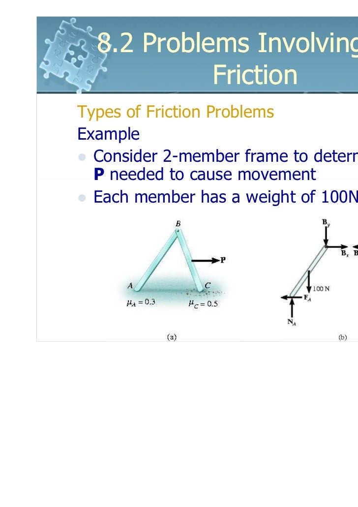 8.2 Problems Involving Dry            FrictionTypes of Friction ProblemsExample  Consider 2-member frame to determine forc...