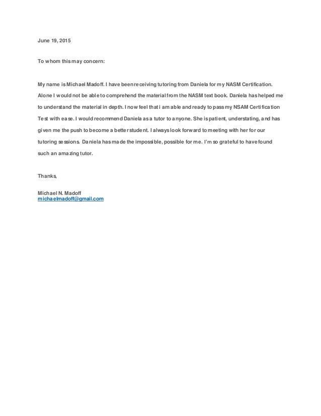 Tutoring Referral Letter