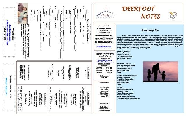 DEERFOOTDEERFOOTDEERFOOTDEERFOOT NOTESNOTESNOTESNOTES June 16, 2019 GreetersJune16,2019 IMPACTGROUP3 WELCOME TO THE DEERFO...