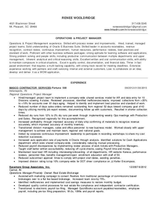 Operations U0026 Project Manager Resume Wooldridge. RENEE WOOLDRIDGE 4021  Blackmoor Street 317.439.5345 Mt. Pleasant, SC 29466 Reneewooldridge1@ ...  Project Managment Resume