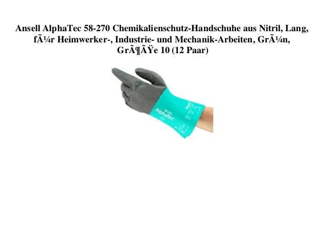 Ansell AlphaTec 58-270 Chemikalienschutz-Handschuhe aus Nitril, Lang, für Heimwerker-, Industrie- und Mechanik-Arbeiten, ...
