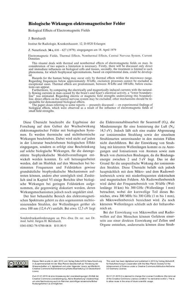 Biologische Wirkungen elektromagnetischer Felder  Biological Effects of Electromagnetic Fields  J. Bernhardt  Institut für...