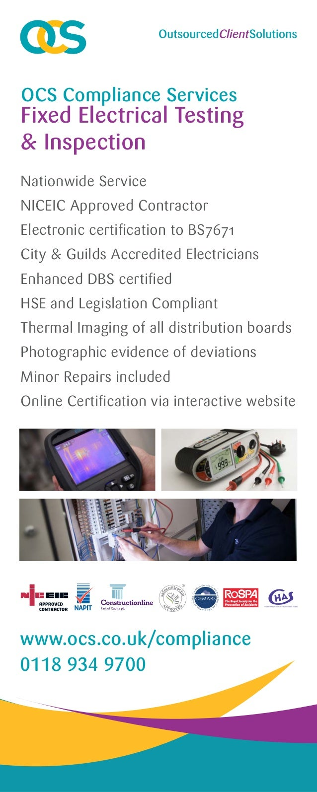 Fixed electrical testing and inspection banner nationwide service niceic approved contractor electronic certification to bs7671 city guilds accredited electricians enh xflitez Images