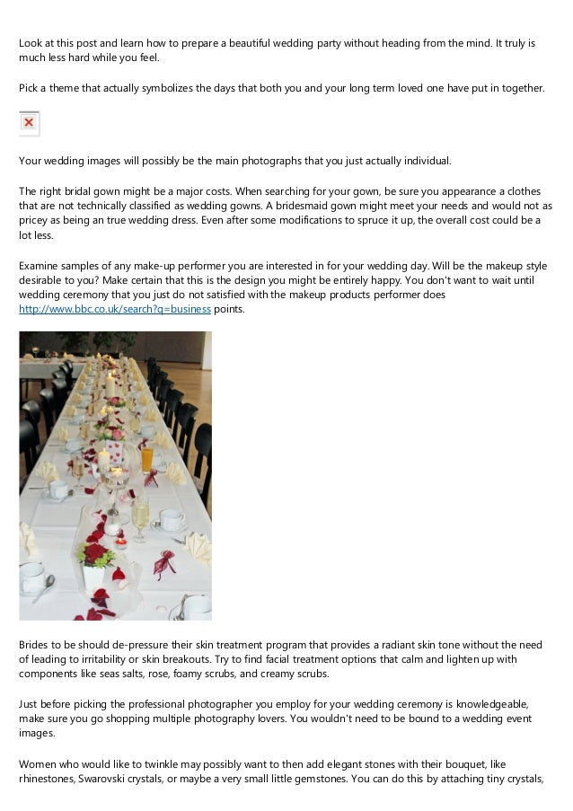 Wedding event Suggestions You Need To Know Of