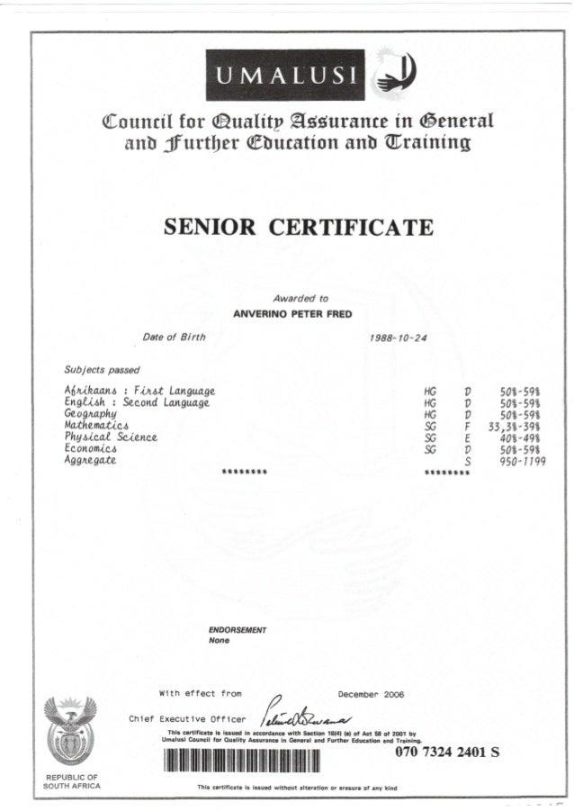 Matric Certificate Pdf