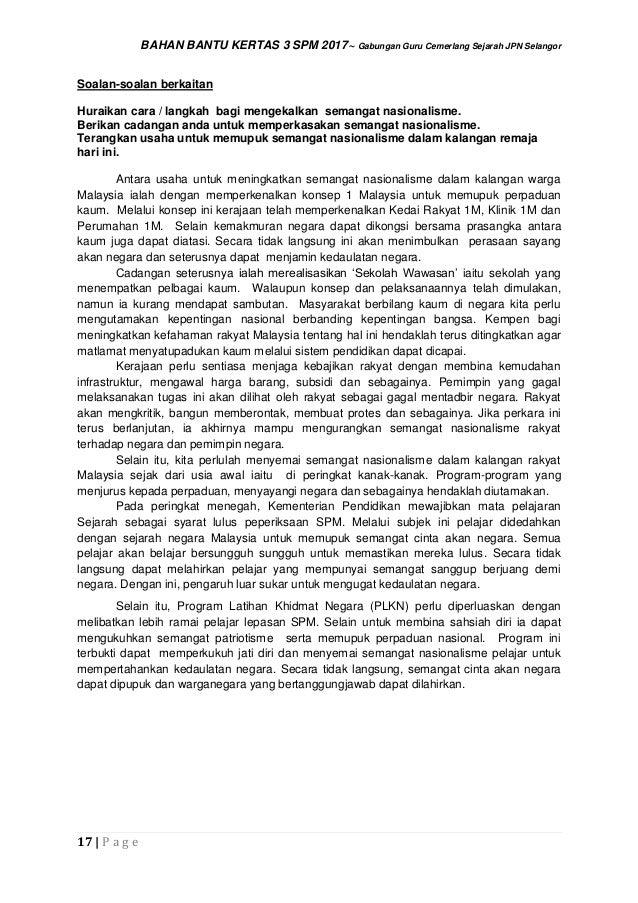 Sejarah Kertas 3 Spm 2017 Bahan Bantu Jawapan