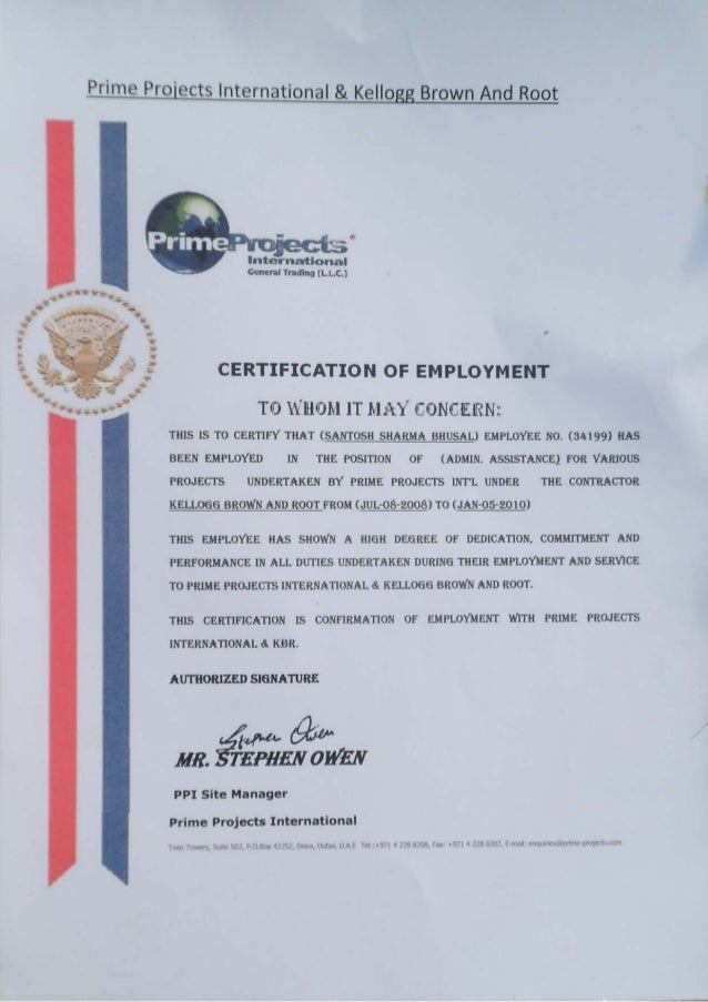 3 Ppi Certificate Of Employment