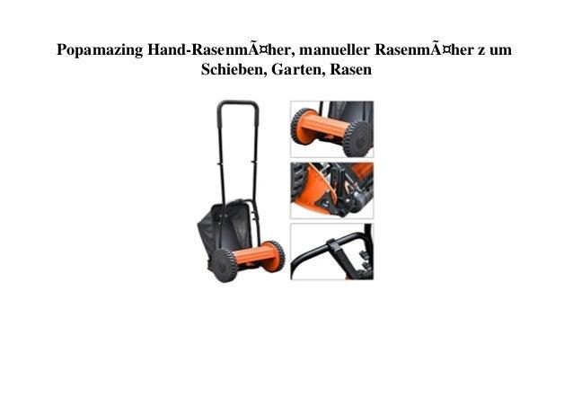 Popamazing Hand-Rasenmäher, manueller Rasenmäher z um Schieben, Garten, Rasen