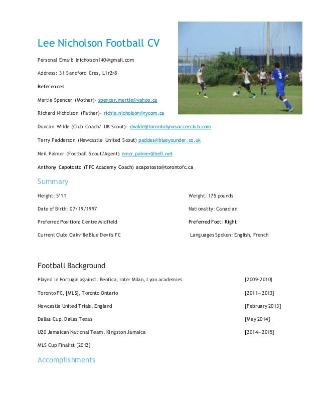 lee nicholson football cv personal email lnicholson140gmailcom address 31 sandford