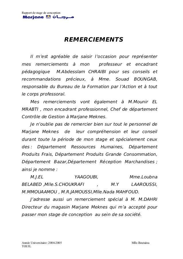 Rapport De Stage Marjane Meknes